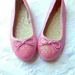 Cat & Jack Girls Glittery Pink Ballet Flats Sz 13